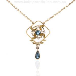 Edwardian era aquamarine and pearl necklace