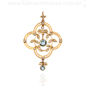 Edwardian aquamarine and pearl pendant