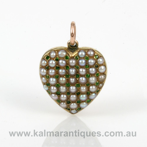 Antique demantoid garnet and pearl pendant