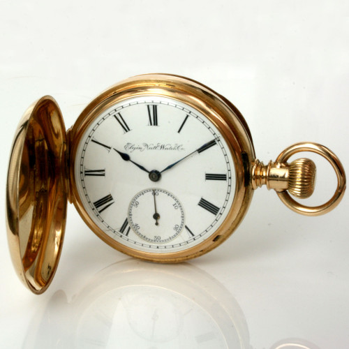 18ct gold full hunter Elgin pocket watch made in 1888