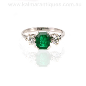 Platinum emerald and diamond ring Sydney
