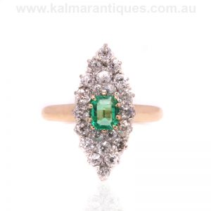 Antique emerald and diamond lozenge shaped ring dating from the 1890's