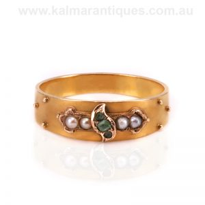 Antique emerald and pearl ring made in 1869