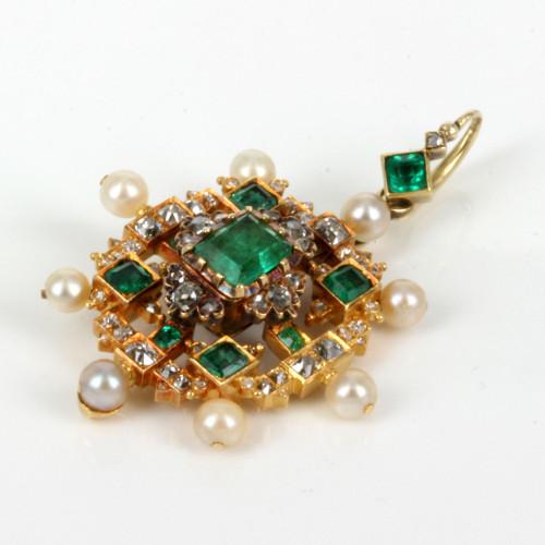Magnificent antique emerald, pearl & diamond pendant.