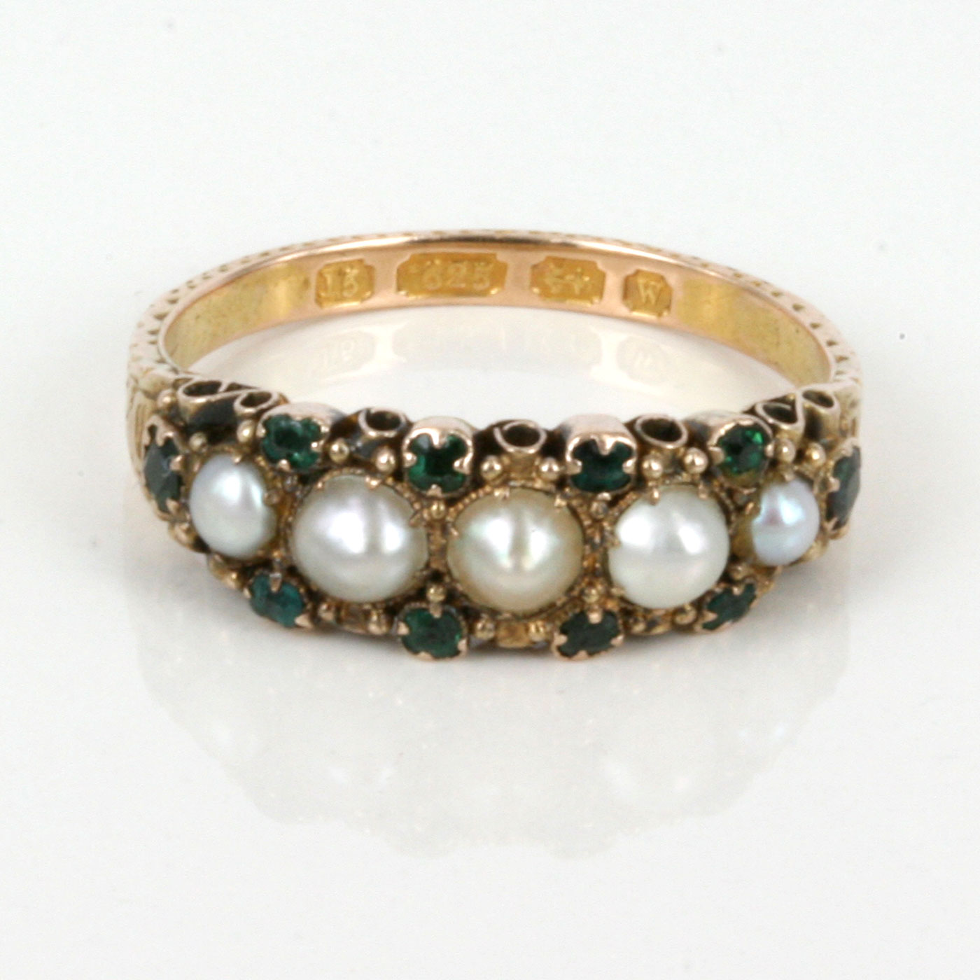 buy 15ct antique emerald and pearl ring made in 1871 sold