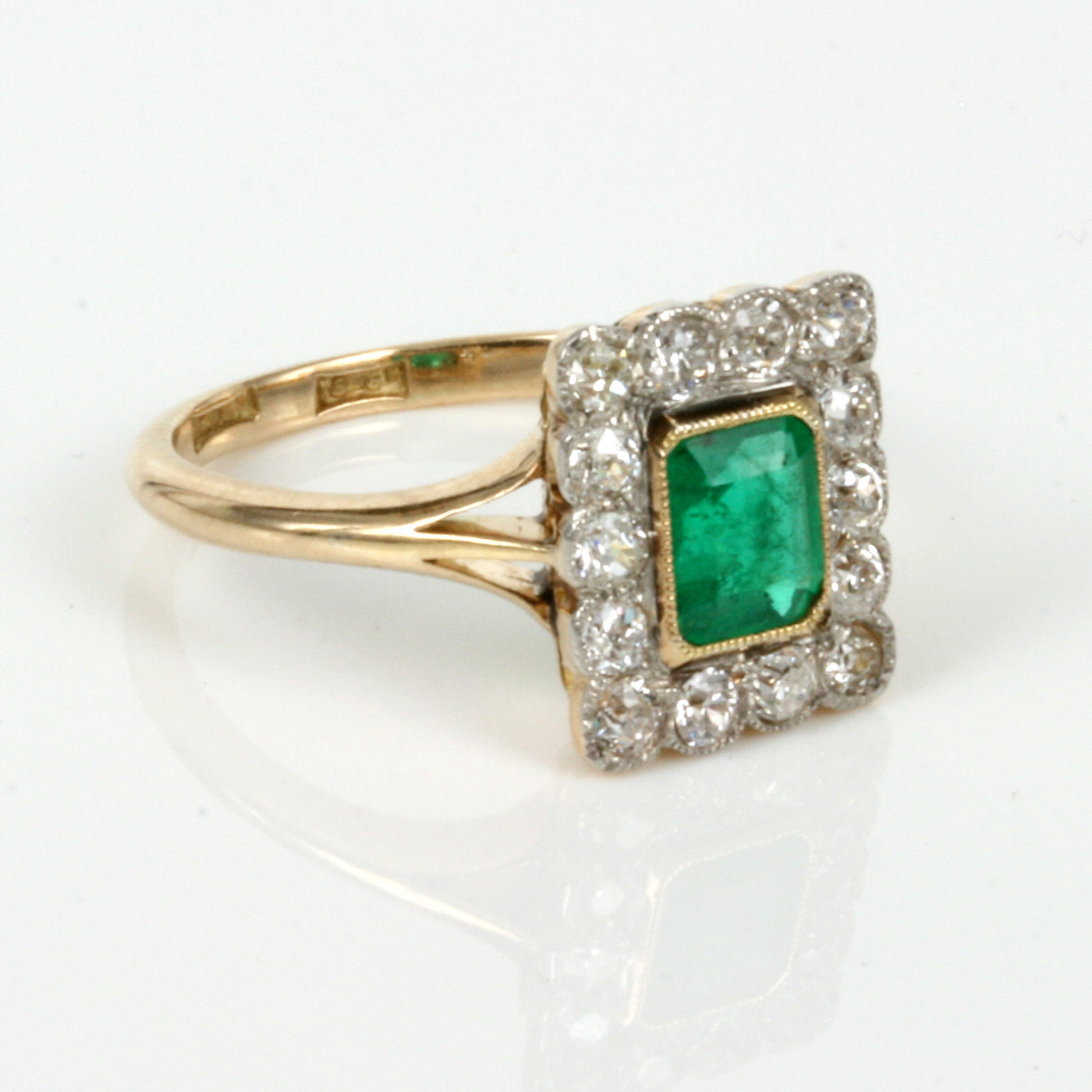 Buy Art Deco Emerald Cluster Ring With 14 Diamonds Sold