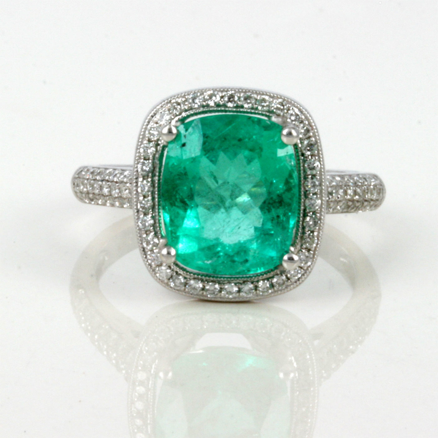 buy 3 25ct emerald and ring in white gold sold