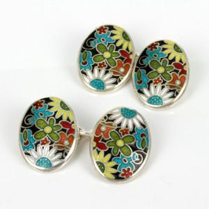 Wonderful sterling silver enamel cufflinks.