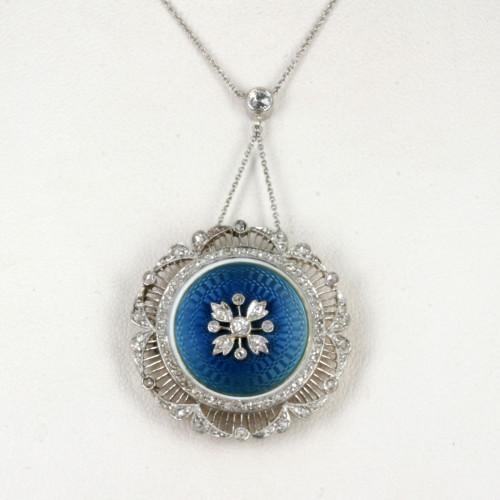 Antique enamel & diamond pendant/locket