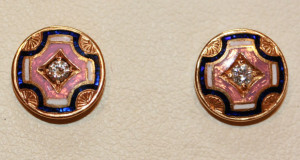 18ct enamelled earrings