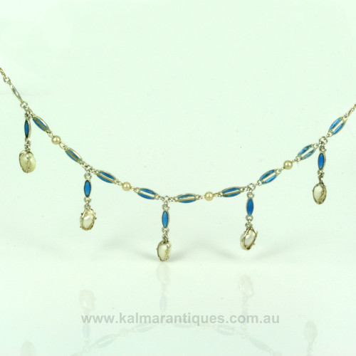 Antique enamel and natural pearl necklace.