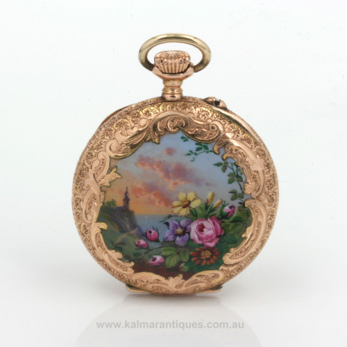 14ct antique enamel pocket from the 1890's