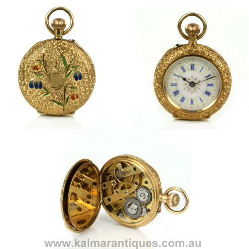 Antique enamel pocket watch
