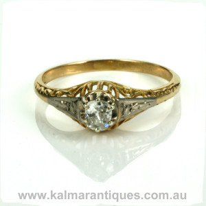 Art Deco era diamond engagement ring from the 1920's