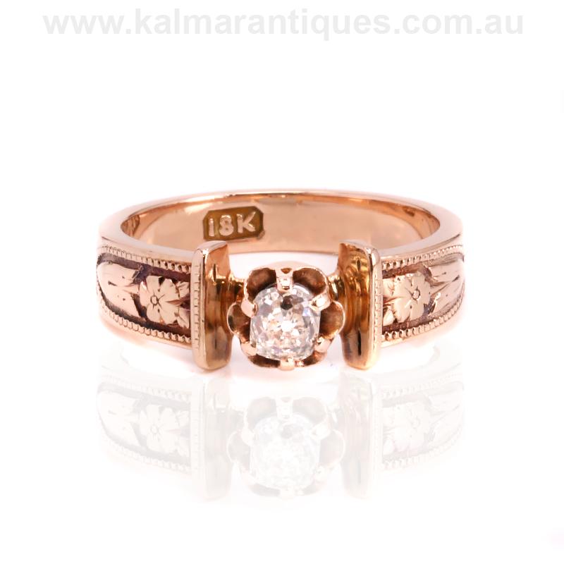Antique Rose Gold Mine Cut Diamond Engagement Ring