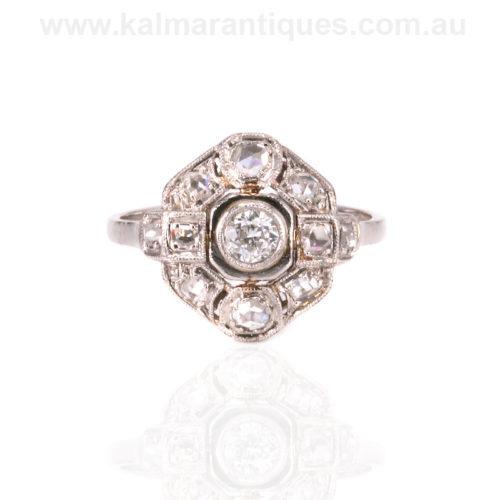 Platinum French Art Deco diamond engagement ring
