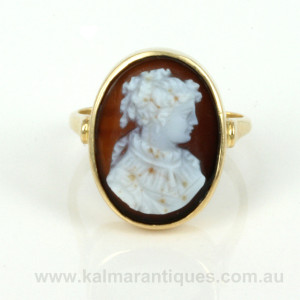 Hardstone antique cameo ring from France