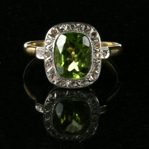 Antique peridot and diamond ring made in France.