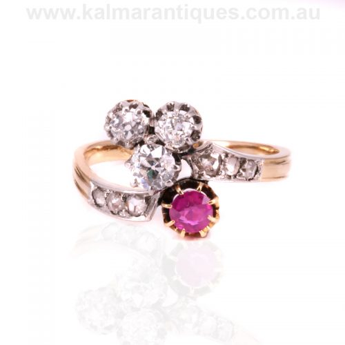 Antique Art Nouveau era ruby and diamond ring made in France