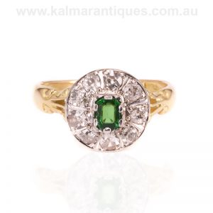 Green garnet and diamond ring by Levinson in the early 1900's
