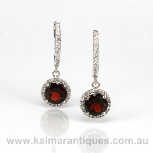 18ct garnet and diamond earrings