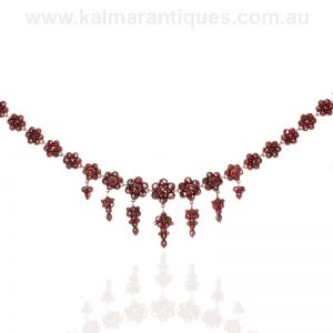 Antique Bohemian garnet fringe necklace from the 1890's