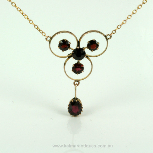 Antique garnet necklace in rose gold.