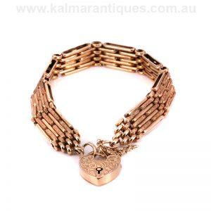 Edwardian era rose gold night and day gate bracelet