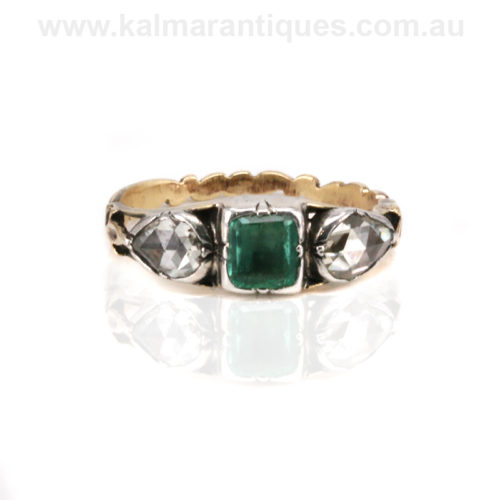 Antique Georgian emerald and diamond ring
