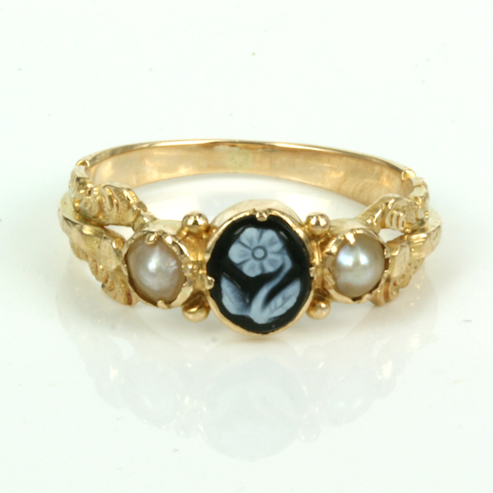 Buy Antique Onyx And Pearl Georgian Era Ring Sold Items