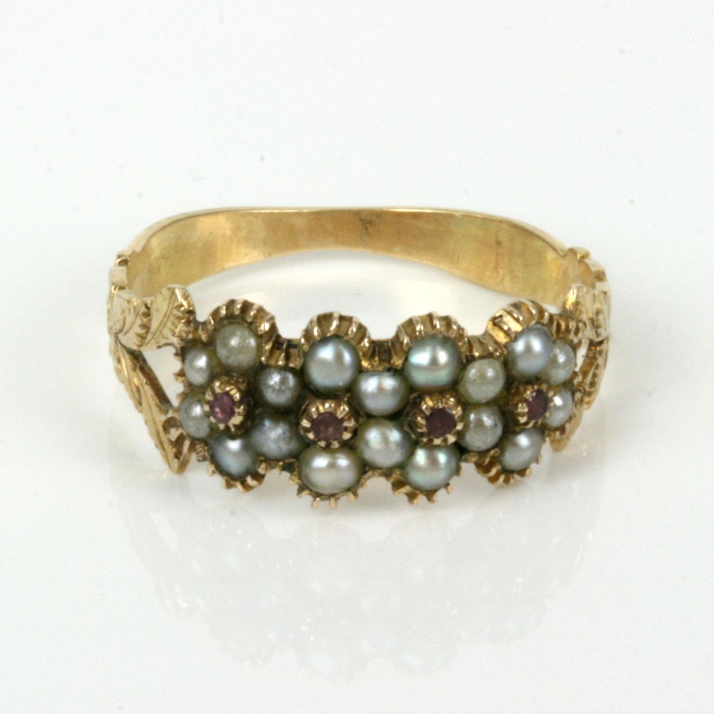 Buy Antique Georgian Era Pearl Amp Ruby Ring Sold Items