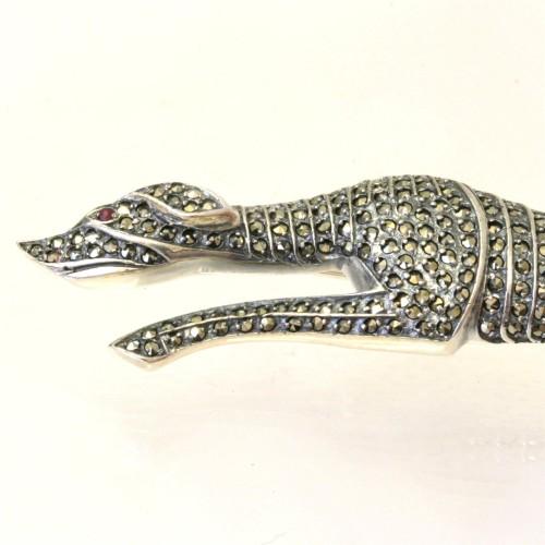 Sterling silver greyhound brooch