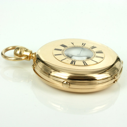 Rare 18ct half hunter pocket watch by F Allerding & Sons