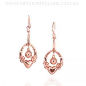 Antique rose gold drop earrings from the Edwardian era