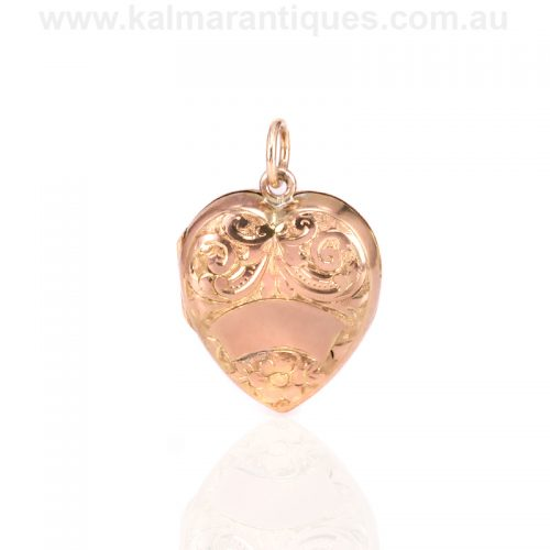 9ct rose gold engraved heart shaped locket made in 1908