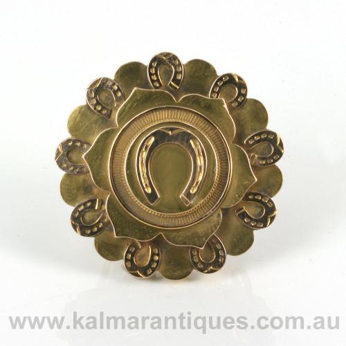 Antique horseshoe brooch locket