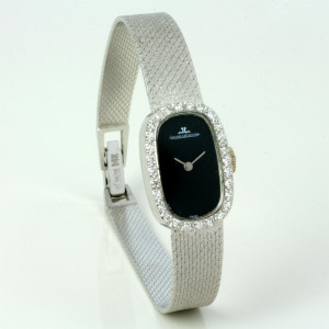 White gold Jaeger LeCoultre diamond watch.