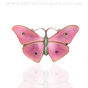 John Atkin and son enamel butterfly brooch