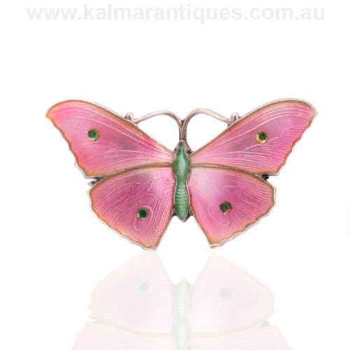 John Atkin and son enamel butterfly brooch