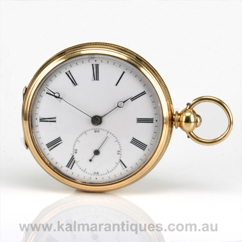 Antique 18ct pocket watch by John Cross with diamond end stone
