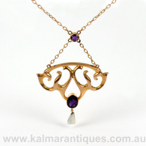 Liberty & Co Art Nouveau amethyst pendant