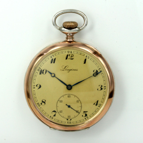 Antique Longines pocket watch in gold & silver.