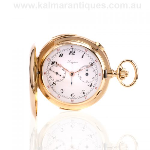 18ct yellow gold Longines chronograph minute repeater pocket watch