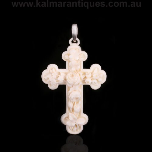 Exquisitely hand carved woolly mammoth ivory cross