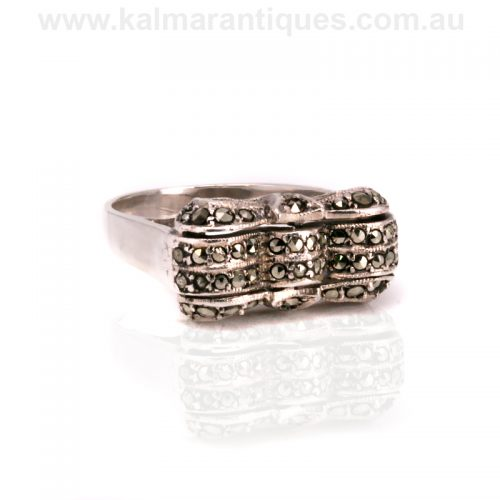 vintage silver marcasite ring in the form of a bow