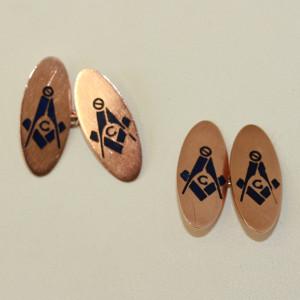 Enamelled Masonic cufflinks.