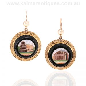 Antique micromosaic earrings made in the 19th century