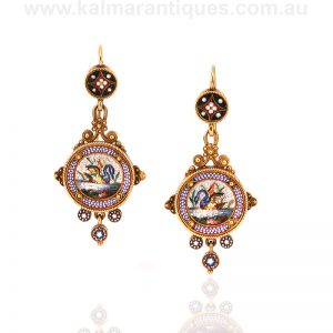 Museum quality antique micromosaic earrings from the 1860's