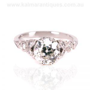 Platinum 2.16 carat mine cut diamond engagement ring
