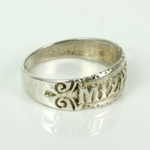 Antique silver Mizpah ring made in 1886